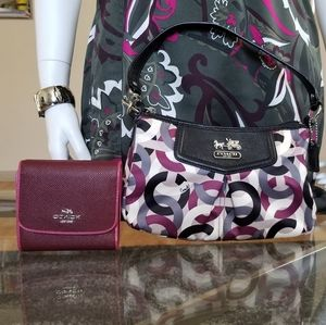 Elegant COACH Signature Wallet & Shoulder Bag.